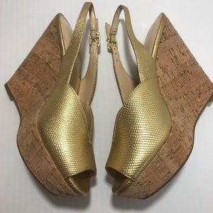 Jessica Simpson LandII Gold Peep Toe Wedges SZ 7.5